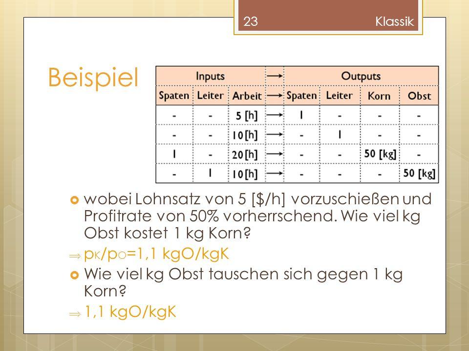 Beispiel wobei Lohnsatz von 5 [$/h] vorzuschießen und Profitrate von 50% vorherrschend. Wie viel kg Obst kostet 1 kg Korn? p K /p O =1,1 kgO/kgK Wie v
