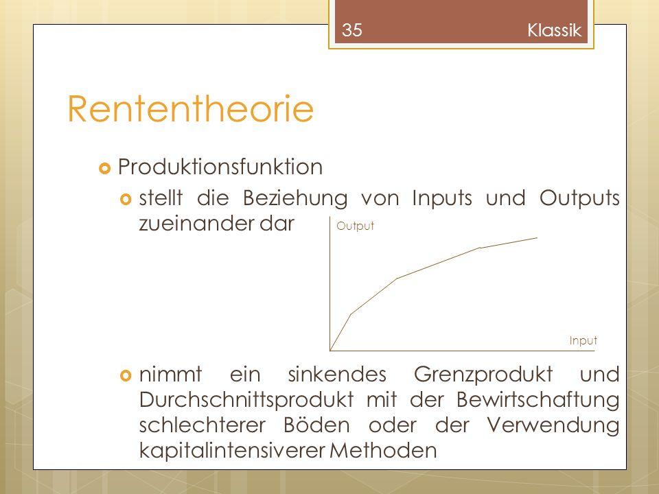 Rententheorie Produktionsfunktion stellt die Beziehung von Inputs und Outputs zueinander dar nimmt ein sinkendes Grenzprodukt und Durchschnittsprodukt