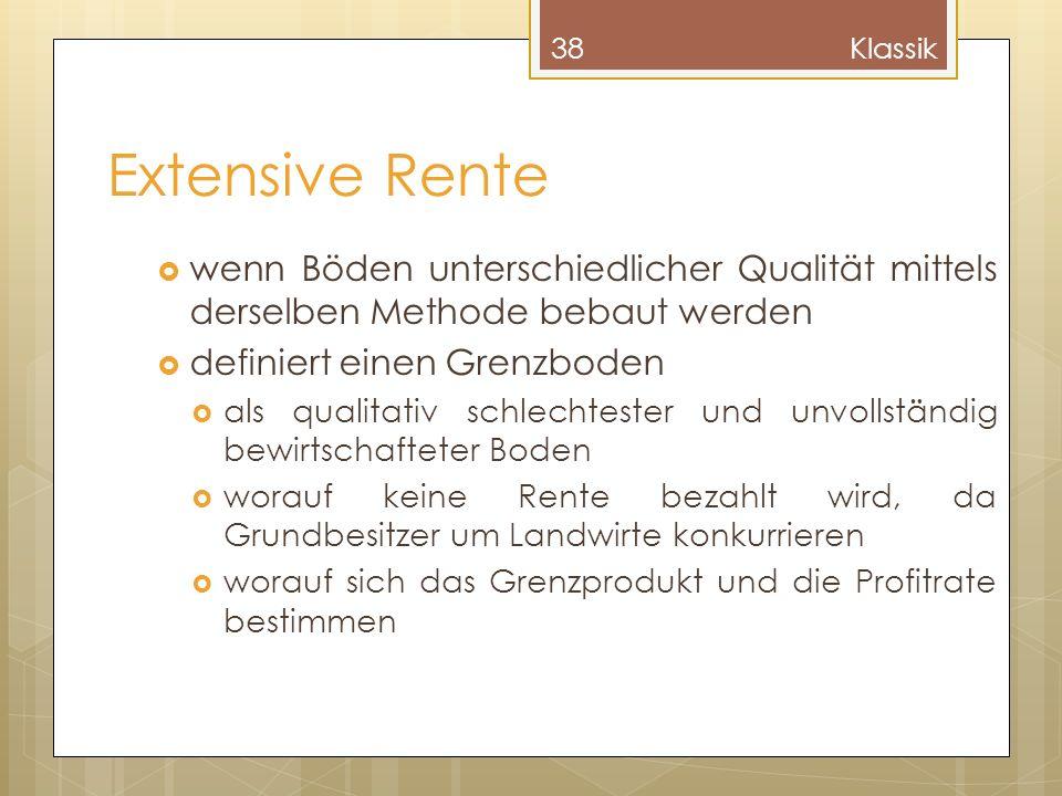 Extensive Rente wenn Böden unterschiedlicher Qualität mittels derselben Methode bebaut werden definiert einen Grenzboden als qualitativ schlechtester