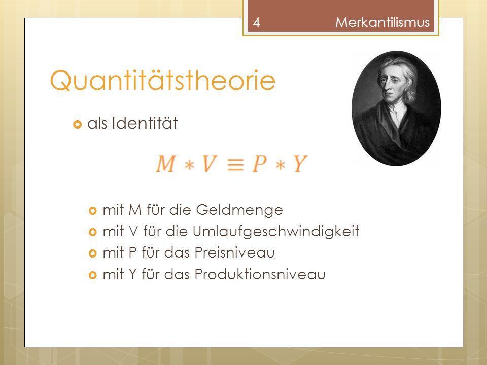 Quantitätstheorie als Identität mit M für die Geldmenge mit V für die Umlaufgeschwindigkeit mit P für das Preisniveau mit Y für das Produktionsniveau