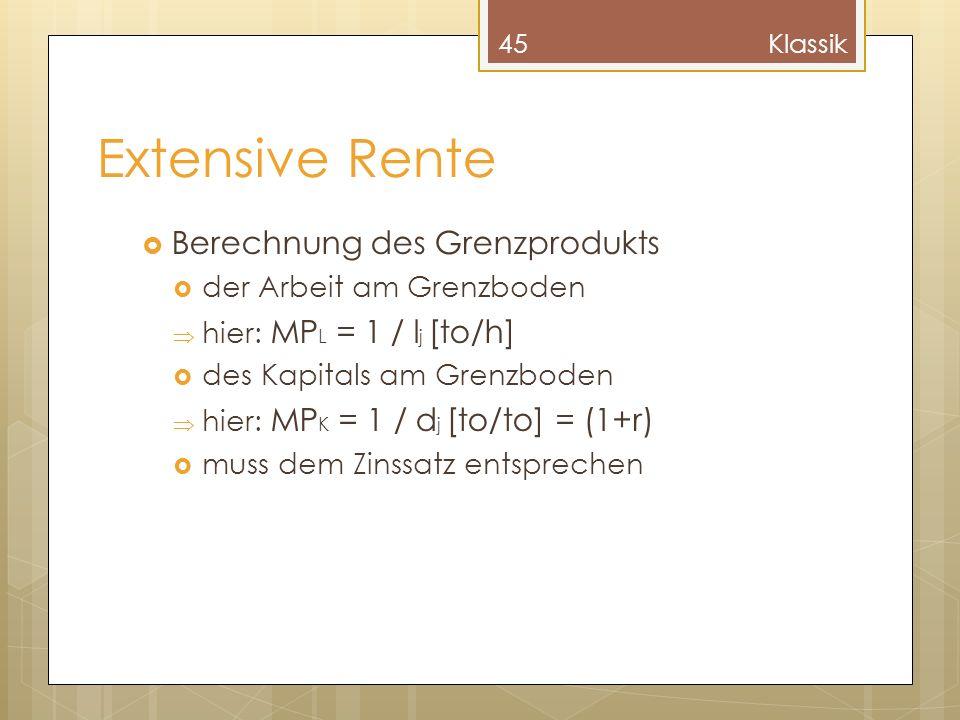 Extensive Rente Berechnung des Grenzprodukts der Arbeit am Grenzboden hier: MP L = 1 / l j [to/h] des Kapitals am Grenzboden hier: MP K = 1 / d j [to/