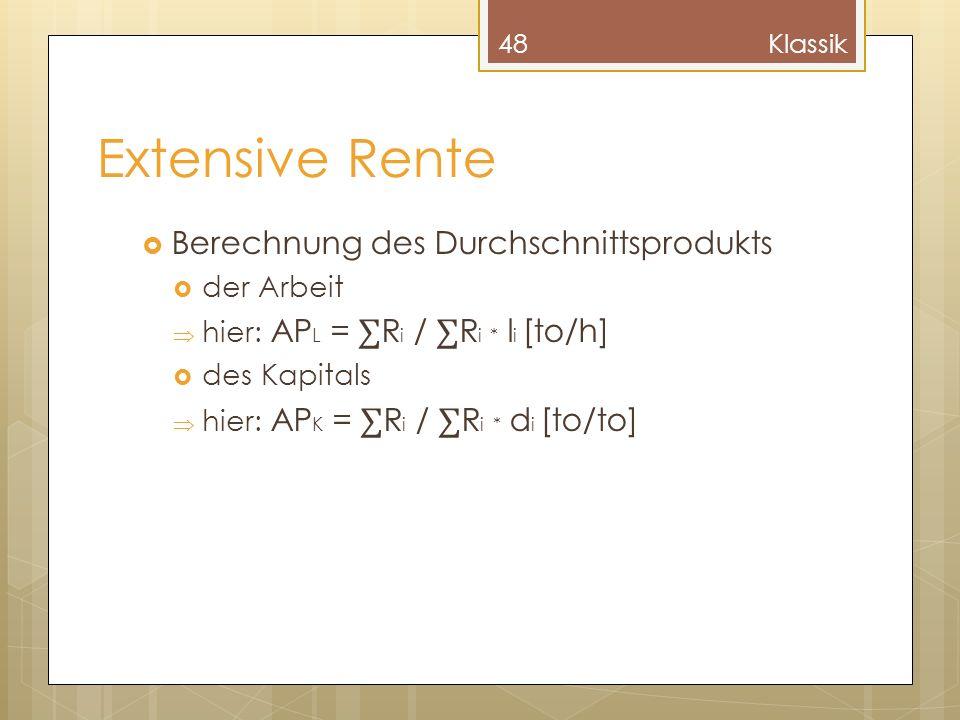 Extensive Rente Berechnung des Durchschnittsprodukts der Arbeit hier: AP L = R i / R i * l i [to/h] des Kapitals hier: AP K = R i / R i * d i [to/to]