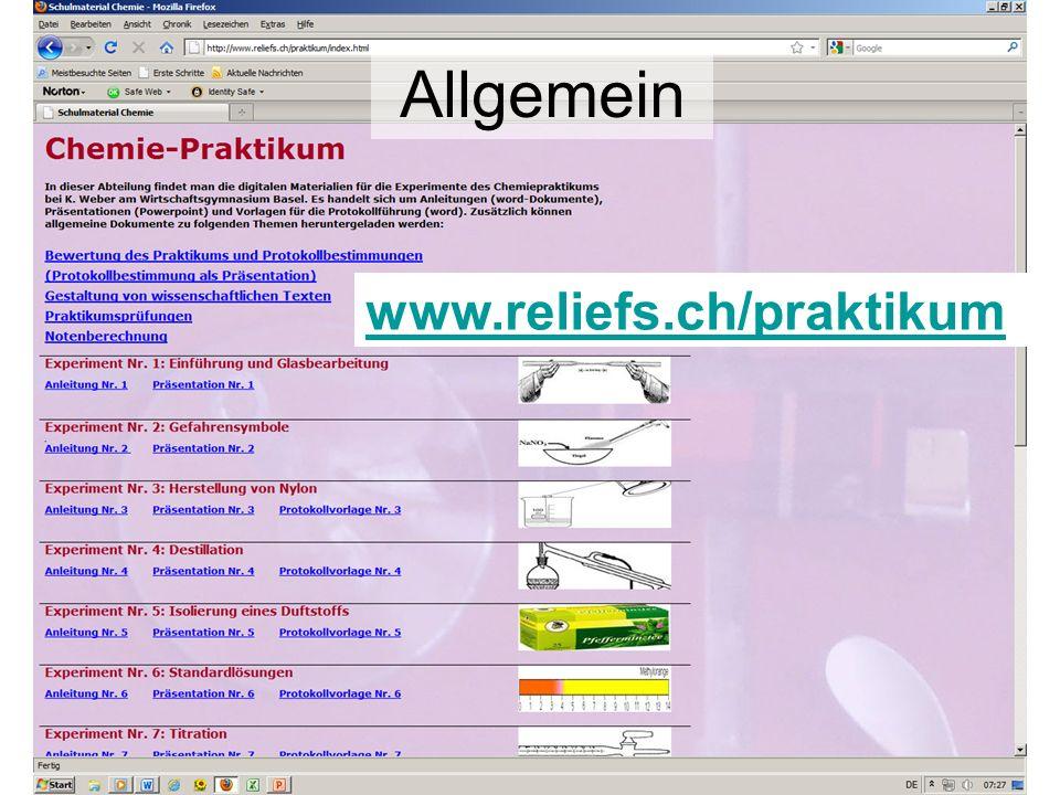 www.reliefs.ch/praktikum Allgemein