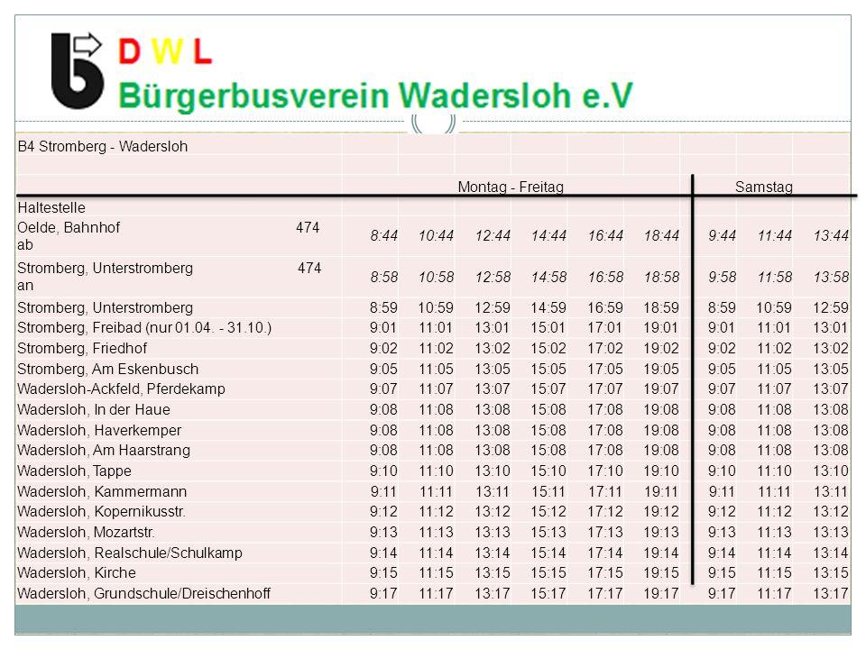 B4 Stromberg - Wadersloh Montag - FreitagSamstag Haltestelle Oelde, Bahnhof 474 ab 8:4410:4412:4414:4416:4418:449:4411:4413:44 Stromberg, Unterstrombe
