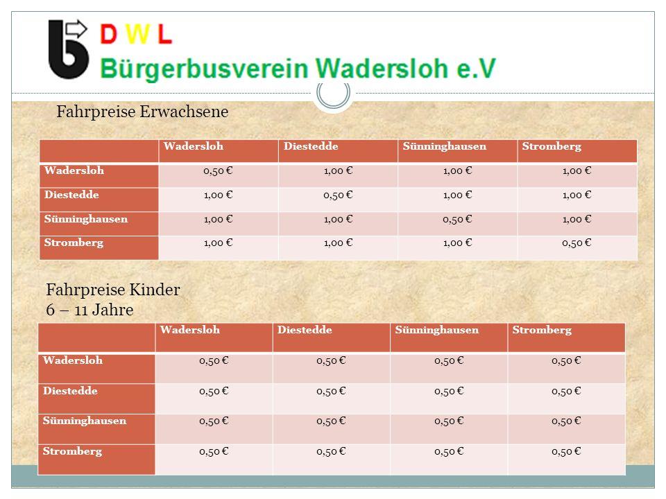 WaderslohDiesteddeSünninghausenStromberg Wadersloh0,50 1,00 Diestedde1,00 0,50 1,00 Sünninghausen1,00 0,50 1,00 Stromberg1,00 0,50 WaderslohDiesteddeSünninghausenStromberg Wadersloh0,50 Diestedde0,50 Sünninghausen0,50 Stromberg0,50 Fahrpreise Erwachsene Fahrpreise Kinder 6 – 11 Jahre