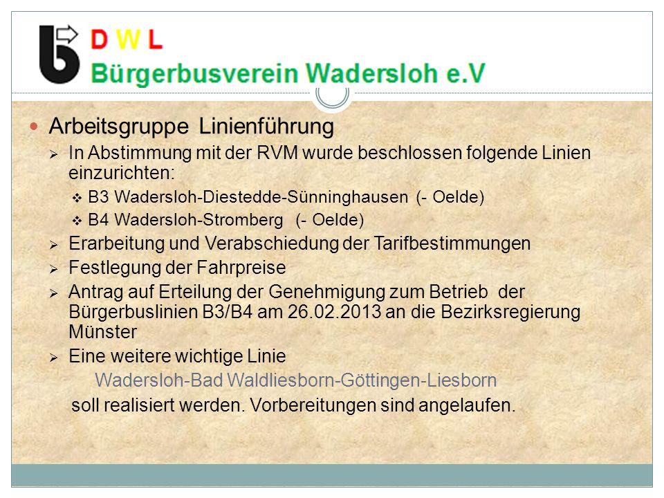 Arbeitsgruppe Linienführung In Abstimmung mit der RVM wurde beschlossen folgende Linien einzurichten: B3 Wadersloh-Diestedde-Sünninghausen (- Oelde) B4 Wadersloh-Stromberg (- Oelde) Erarbeitung und Verabschiedung der Tarifbestimmungen Festlegung der Fahrpreise Antrag auf Erteilung der Genehmigung zum Betrieb der Bürgerbuslinien B3/B4 am 26.02.2013 an die Bezirksregierung Münster Eine weitere wichtige Linie Wadersloh-Bad Waldliesborn-Göttingen-Liesborn soll realisiert werden.