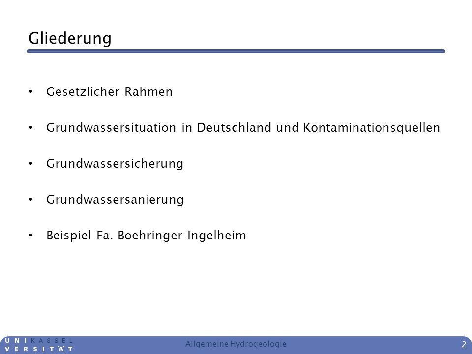 Gliederung Gesetzlicher Rahmen Grundwassersituation in Deutschland und Kontaminationsquellen Grundwassersicherung Grundwassersanierung Beispiel Fa. Bo