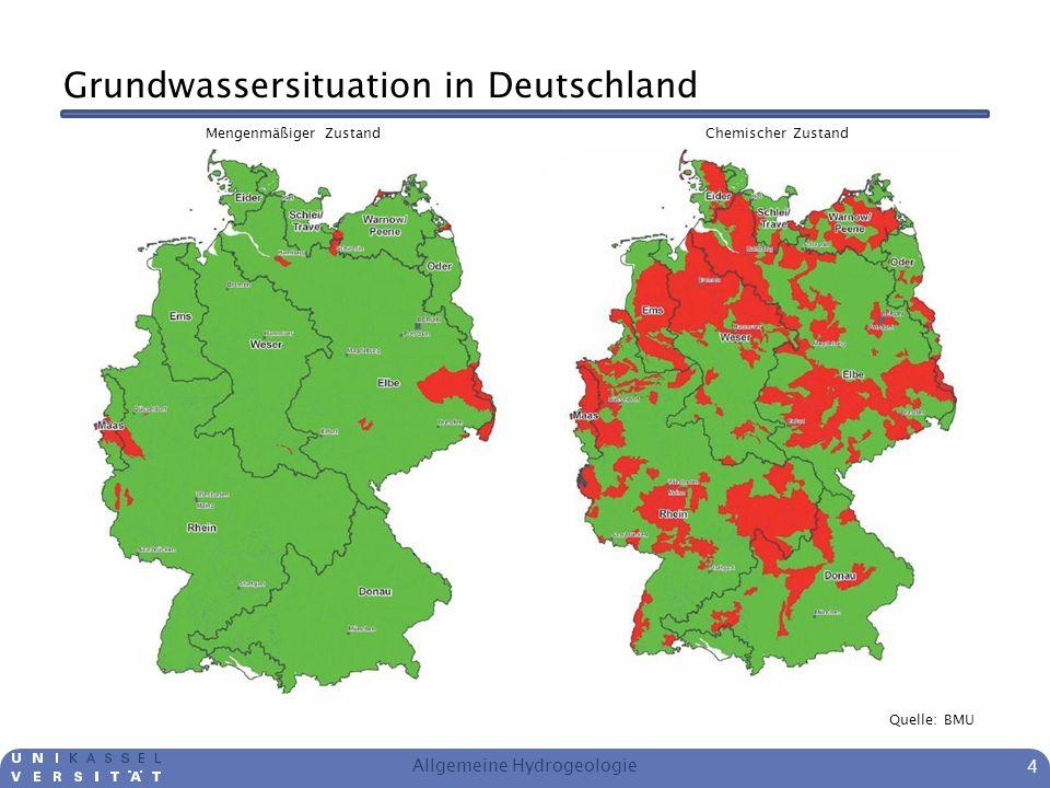 Grundwassersituation in Deutschland Der mengenmäßige Zustand wird über den Grundwasserstand bewertet Für den chemischen Zustand gelten folgende Grenzwerte: – Nitrat 50 mg/l – Pestizide, Biozide und Metaboliten jeweils 0,1 μg/l; 0,5 μg/l in Summe Meist ist Nitrat für die schlechte Bewertung verantwortlich Verunreinigungen großräumig Viele unterschiedliche Quellen Allgemeine Hydrogeologie 5