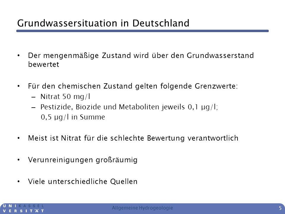 Grundwassersituation in Deutschland Der mengenmäßige Zustand wird über den Grundwasserstand bewertet Für den chemischen Zustand gelten folgende Grenzw