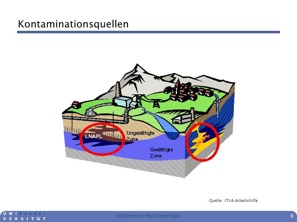 Kontaminationsquellen Allgemeine Hydrogeologie 6 Quelle: ITVA Arbeitshilfe