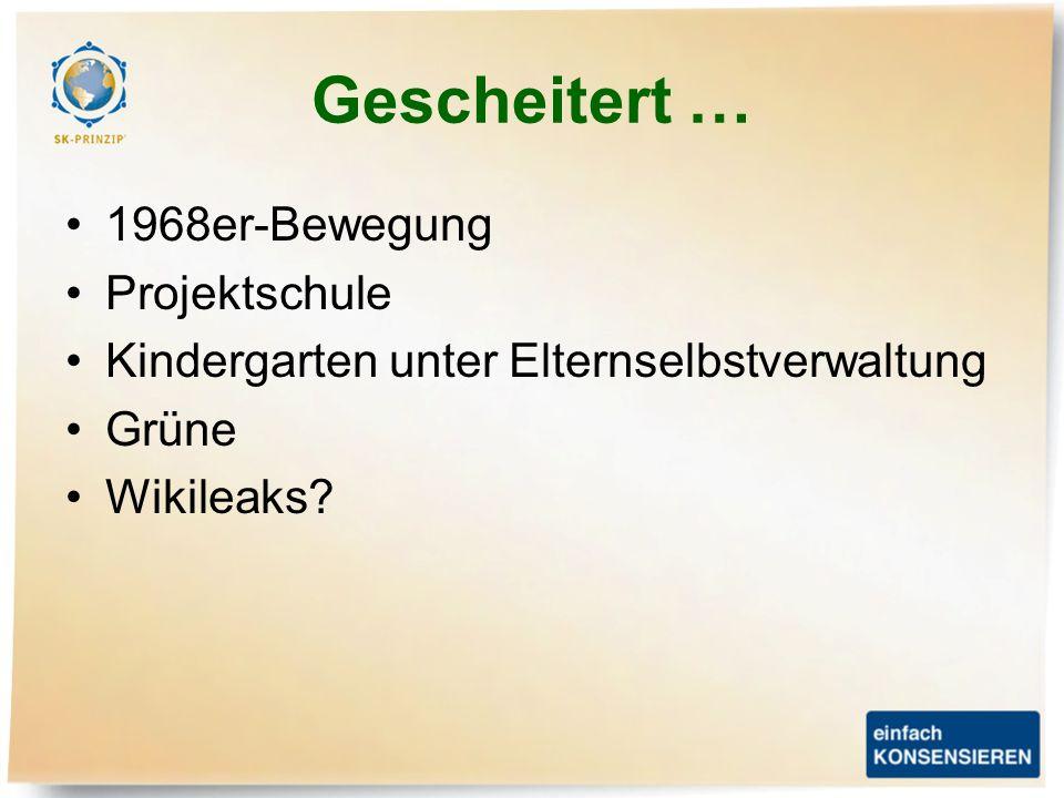 Gescheitert … 1968er-Bewegung Projektschule Kindergarten unter Elternselbstverwaltung Grüne Wikileaks?