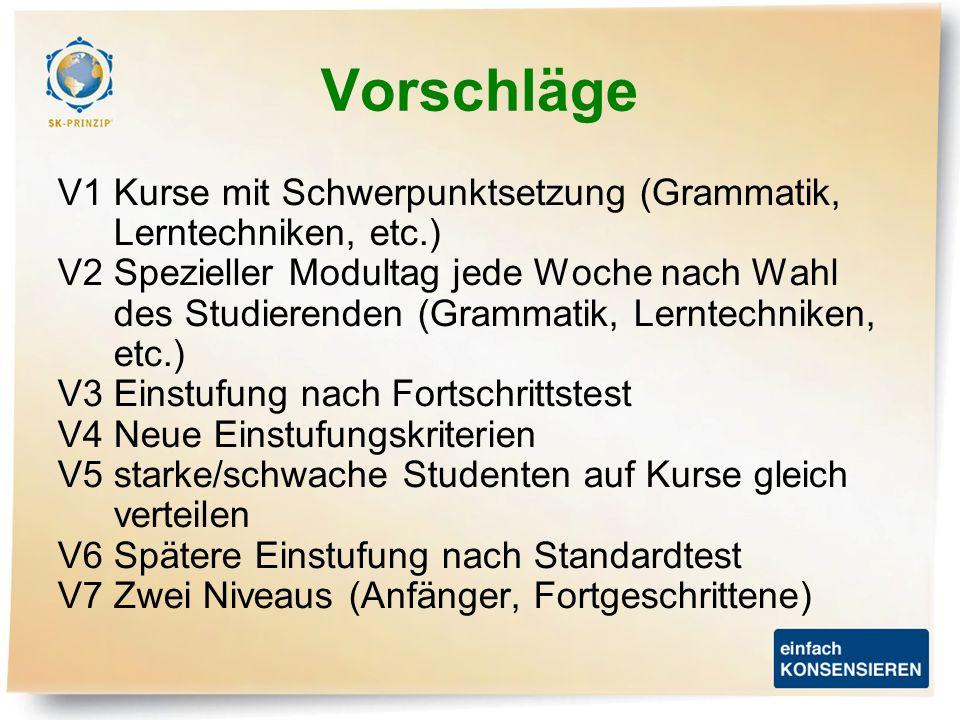 Vorschläge V1 Kurse mit Schwerpunktsetzung (Grammatik, Lerntechniken, etc.) V2 Spezieller Modultag jede Woche nach Wahl des Studierenden (Grammatik, L