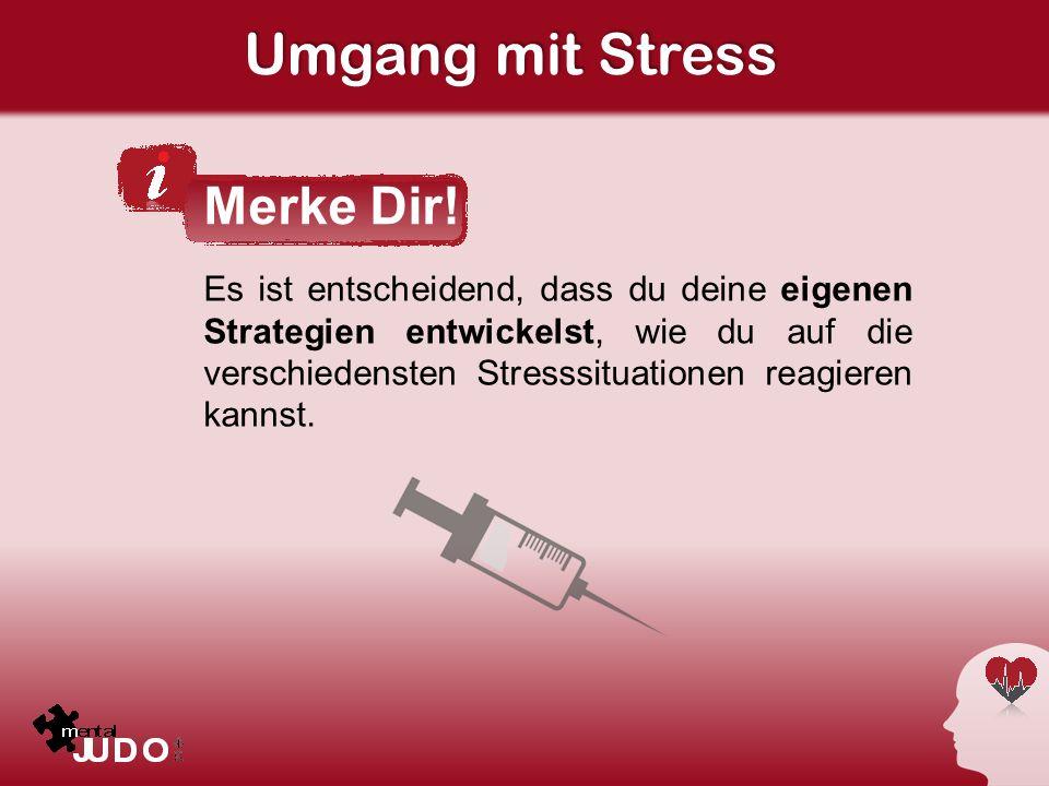 Umgang mit Stress Es ist entscheidend, dass du deine eigenen Strategien entwickelst, wie du auf die verschiedensten Stresssituationen reagieren kannst