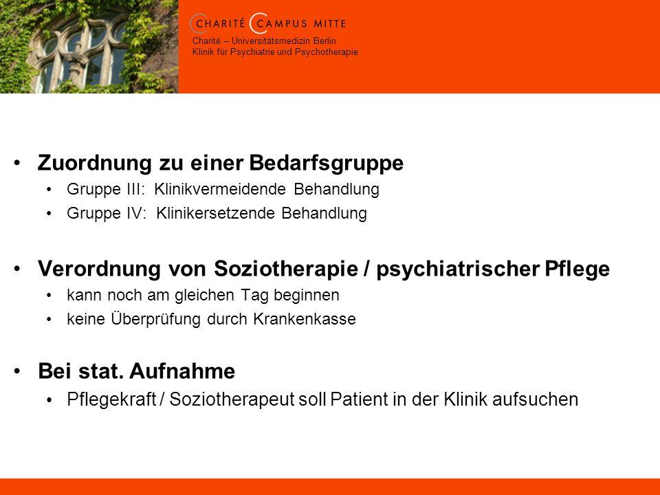Charité – Universitätsmedizin Berlin Klinik für Psychiatrie und Psychotherapie Zuordnung zu einer Bedarfsgruppe Gruppe III: Klinikvermeidende Behandlung Gruppe IV: Klinikersetzende Behandlung Verordnung von Soziotherapie / psychiatrischer Pflege kann noch am gleichen Tag beginnen keine Überprüfung durch Krankenkasse Bei stat.