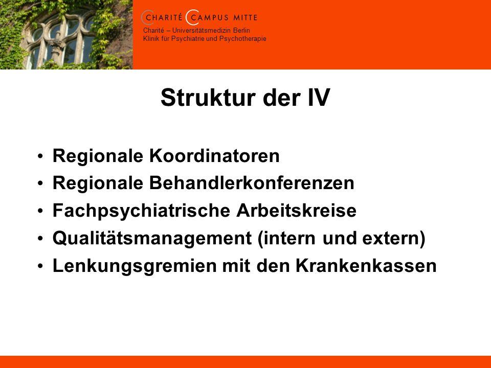 Charité – Universitätsmedizin Berlin Klinik für Psychiatrie und Psychotherapie Struktur der IV Regionale Koordinatoren Regionale Behandlerkonferenzen Fachpsychiatrische Arbeitskreise Qualitätsmanagement (intern und extern) Lenkungsgremien mit den Krankenkassen