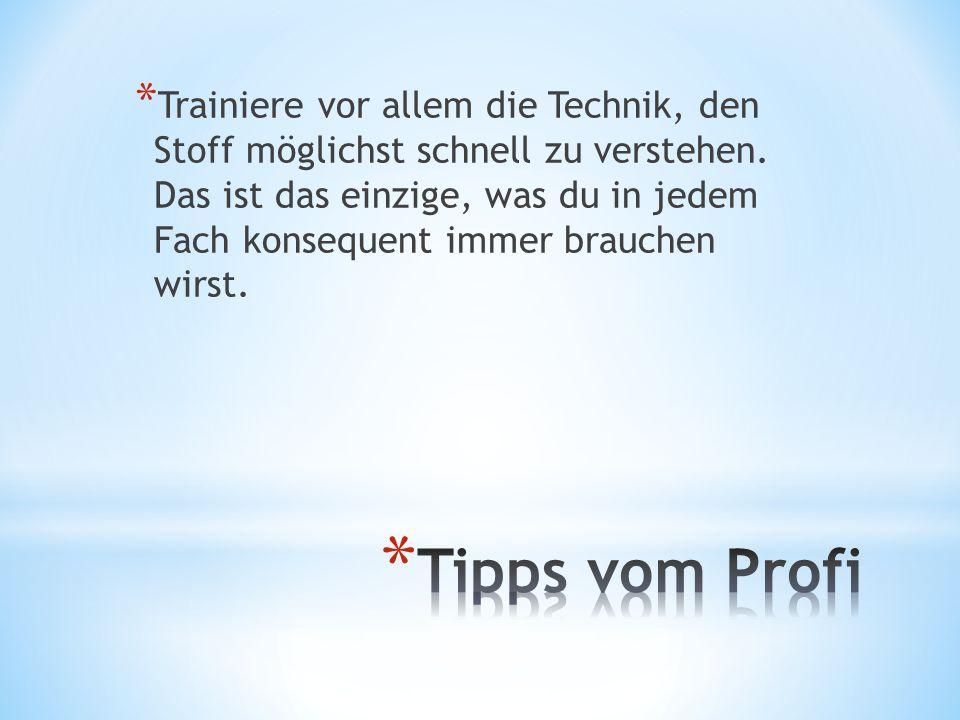 * Trainiere vor allem die Technik, den Stoff möglichst schnell zu verstehen. Das ist das einzige, was du in jedem Fach konsequent immer brauchen wirst