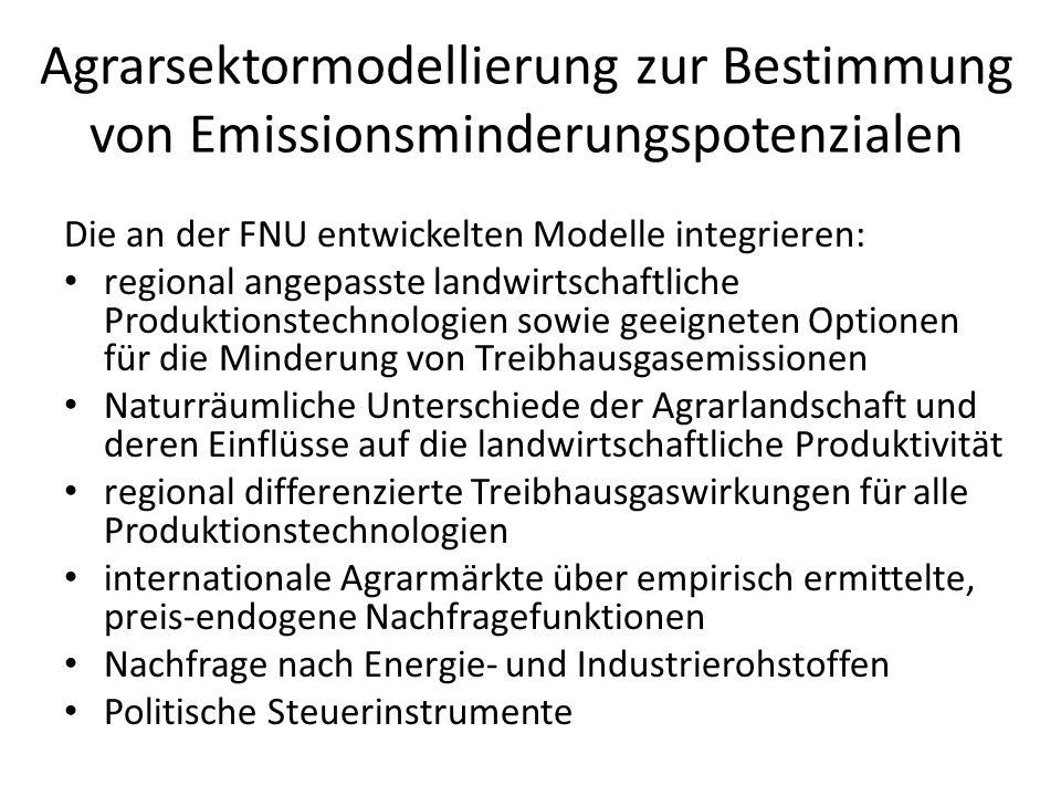 Agrarsektormodellierung zur Bestimmung von Emissionsminderungspotenzialen Die an der FNU entwickelten Modelle integrieren: regional angepasste landwir