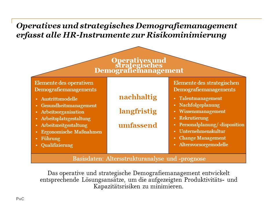 PwC Die drei Phasen eines nachhaltig erfolgreichen Demografie- managements Anpassung / Konzeption von HR- Instrumenten bezüglich der demografischen Herausforderungen, wie z.B.