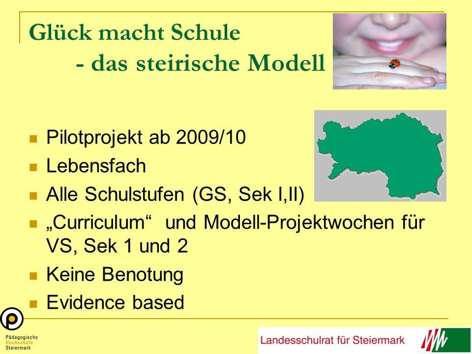 Glück macht Schule - das steirische Modell Pilotprojekt ab 2009/10 Lebensfach Alle Schulstufen (GS, Sek I,II) Curriculum und Modell-Projektwochen für VS, Sek 1 und 2 Keine Benotung Evidence based