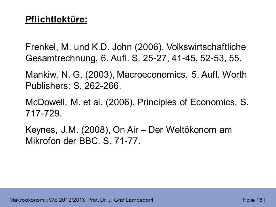Makroökonomik WS 2012/2013, Prof. Dr. J. Graf Lambsdorff Folie 161 Pflichtlektüre: Frenkel, M. und K.D. John (2006), Volkswirtschaftliche Gesamtrechnu