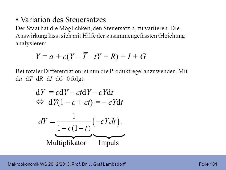 Makroökonomik WS 2012/2013, Prof. Dr. J. Graf Lambsdorff Folie 181 Variation des Steuersatzes Der Staat hat die Möglichkeit, den Steuersatz, t, zu var