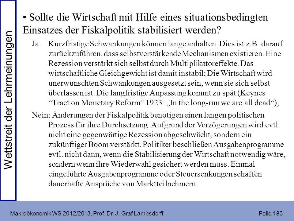 Makroökonomik WS 2012/2013, Prof. Dr. J. Graf Lambsdorff Folie 183 Sollte die Wirtschaft mit Hilfe eines situationsbedingten Einsatzes der Fiskalpolit