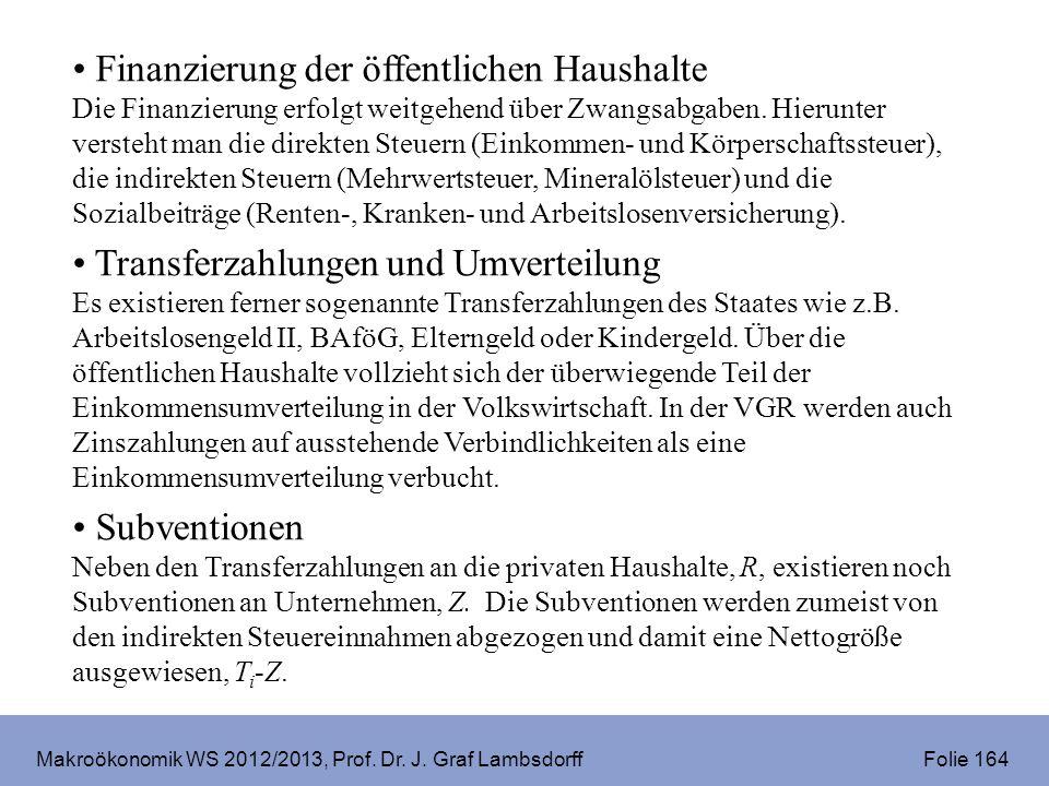 Makroökonomik WS 2012/2013, Prof. Dr. J. Graf Lambsdorff Folie 164 Finanzierung der öffentlichen Haushalte Die Finanzierung erfolgt weitgehend über Zw