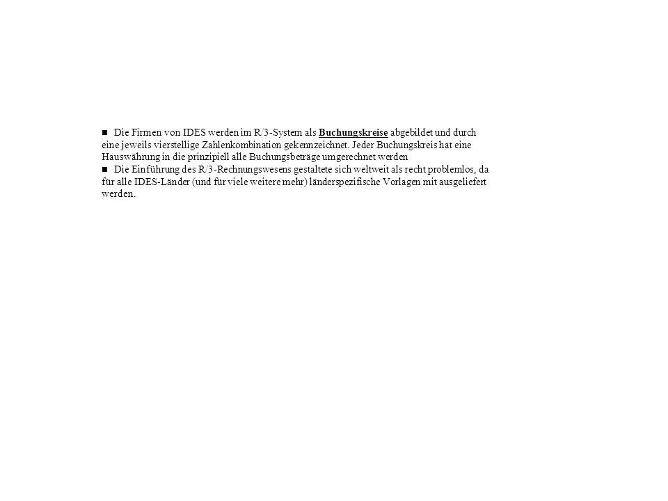 Die Firmen von IDES werden im R/3-System als Buchungskreise abgebildet und durch eine jeweils vierstellige Zahlenkombination gekennzeichnet. Jeder Buc