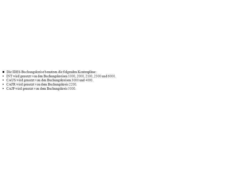 Die IDES-Buchungskreise benutzen die folgenden Kontenpläne: INT wird genutzt von den Buchungskreisen 1000, 2000, 2100, 2300 und 6000. CAUS wird genutz