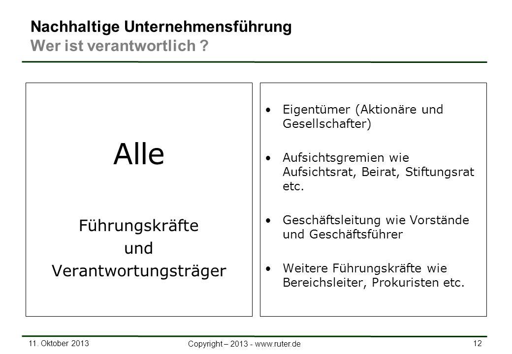 11. Oktober 2013 12 Copyright – 2013 - www.ruter.de Nachhaltige Unternehmensführung Wer ist verantwortlich ? Alle Führungskräfte und Verantwortungsträ