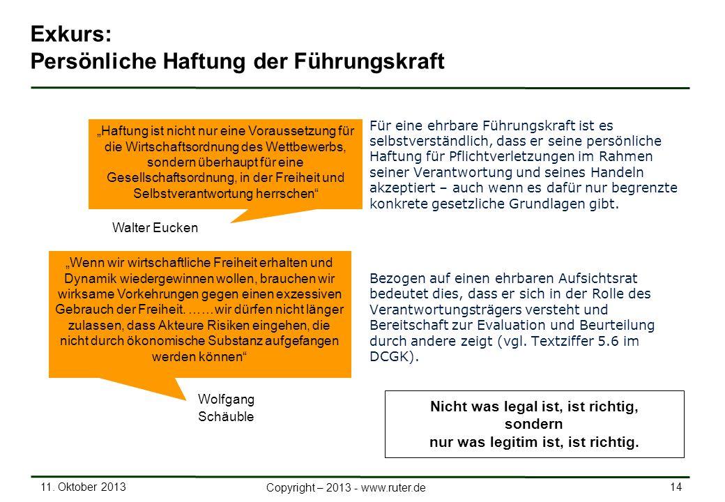 11. Oktober 2013 14 Copyright – 2013 - www.ruter.de Exkurs: Persönliche Haftung der Führungskraft Für eine ehrbare Führungskraft ist es selbstverständ