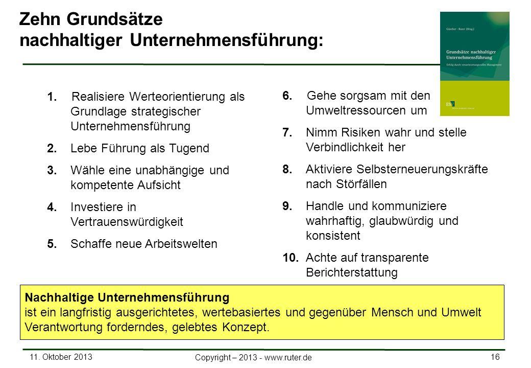 11. Oktober 2013 16 Copyright – 2013 - www.ruter.de 1.Realisiere Werteorientierung als Grundlage strategischer Unternehmensführung 2. Lebe Führung als