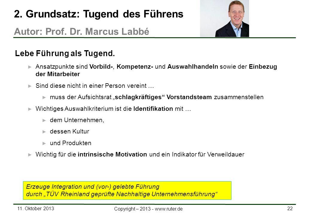 11. Oktober 2013 22 Copyright – 2013 - www.ruter.de Ansatzpunkte sind Vorbild-, Kompetenz- und Auswahlhandeln sowie der Einbezug der Mitarbeiter Sind