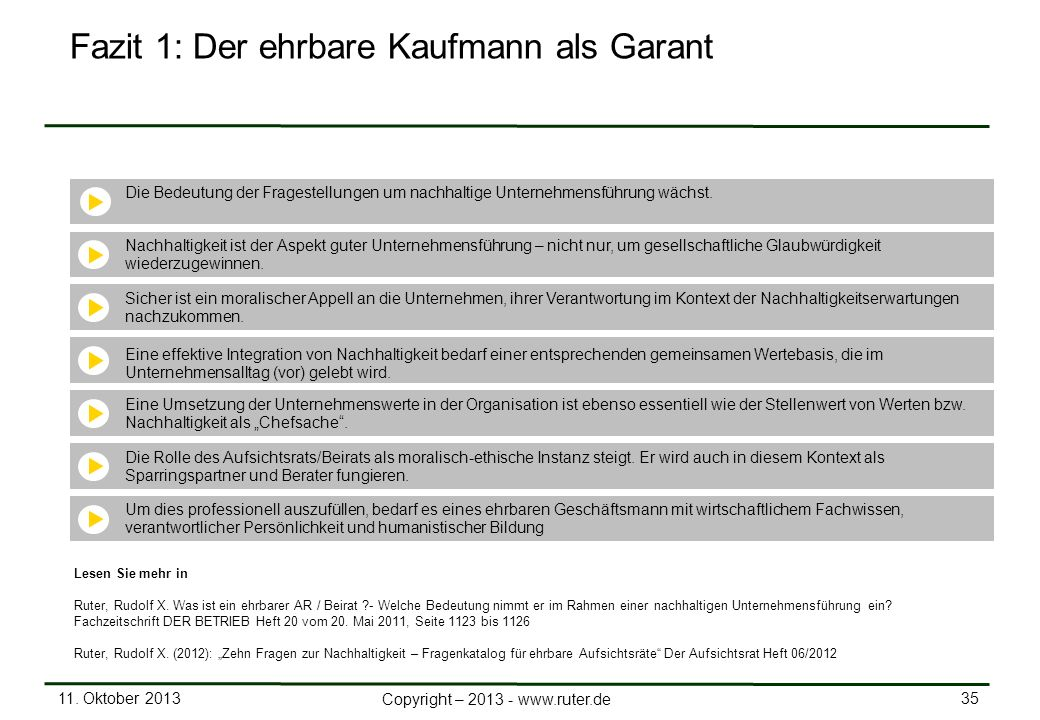 11. Oktober 2013 35 Copyright – 2013 - www.ruter.de Fazit 1: Der ehrbare Kaufmann als Garant Die Bedeutung der Fragestellungen um nachhaltige Unterneh