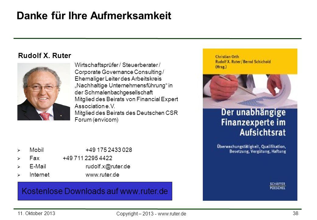 11. Oktober 2013 38 Copyright – 2013 - www.ruter.de Mobil +49 175 2433 028 Fax+49 711 2295 4422 E-Mail rudolf.x@ruter.de Internetwww.ruter.de Rudolf X