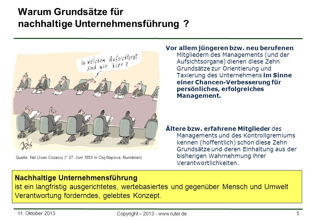 11. Oktober 2013 5 Copyright – 2013 - www.ruter.de Warum Grundsätze für nachhaltige Unternehmensführung ? Vor allem jüngeren bzw. neu berufenen Mitgli