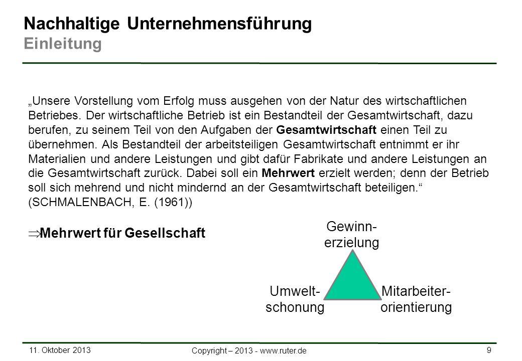 11. Oktober 2013 9 Copyright – 2013 - www.ruter.de Nachhaltige Unternehmensführung Einleitung Unsere Vorstellung vom Erfolg muss ausgehen von der Natu