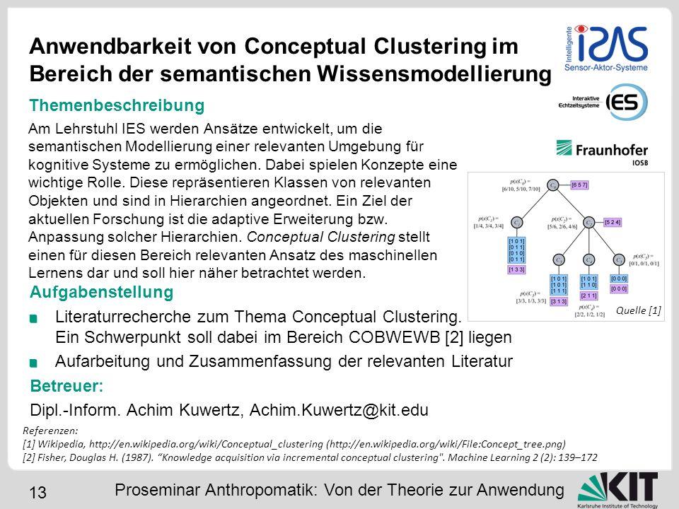 13 Anwendbarkeit von Conceptual Clustering im Bereich der semantischen Wissensmodellierung Aufgabenstellung Literaturrecherche zum Thema Conceptual Cl
