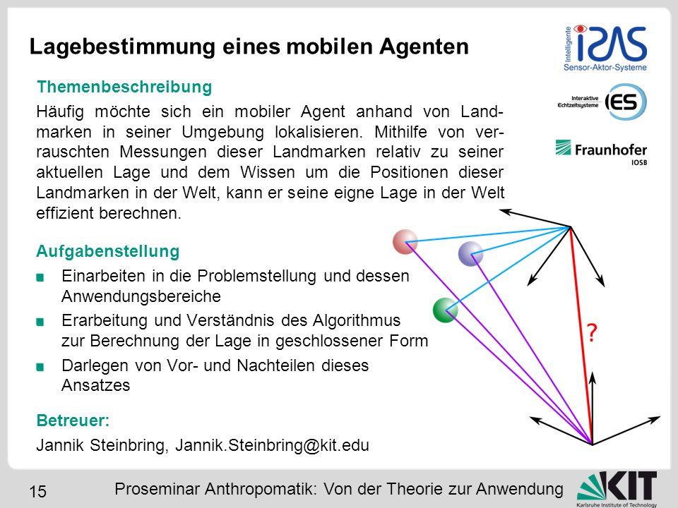 15 Lagebestimmung eines mobilen Agenten Aufgabenstellung Einarbeiten in die Problemstellung und dessen Anwendungsbereiche Erarbeitung und Verständnis
