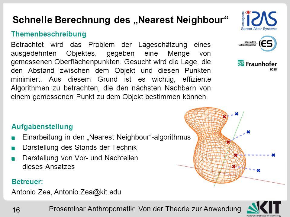 16 Schnelle Berechnung des Nearest Neighbour Proseminar Anthropomatik: Von der Theorie zur Anwendung Themenbeschreibung Betrachtet wird das Problem de