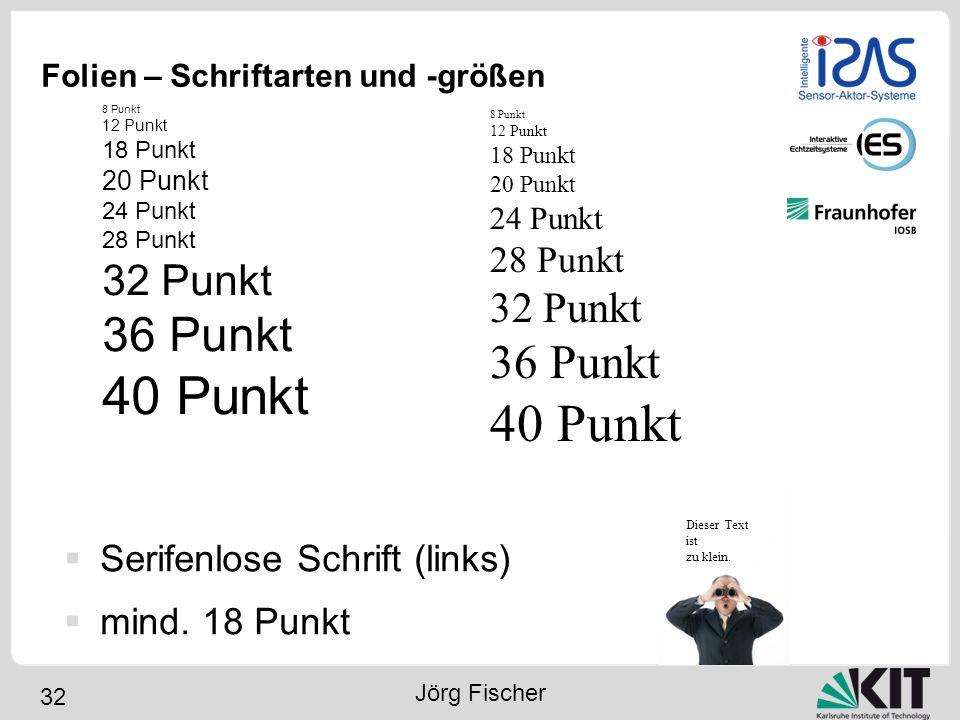 32 Folien – Schriftarten und -größen 8 Punkt 12 Punkt 18 Punkt 20 Punkt 24 Punkt 28 Punkt 32 Punkt 36 Punkt 40 Punkt Dieser Text ist zu klein. 8 Punkt