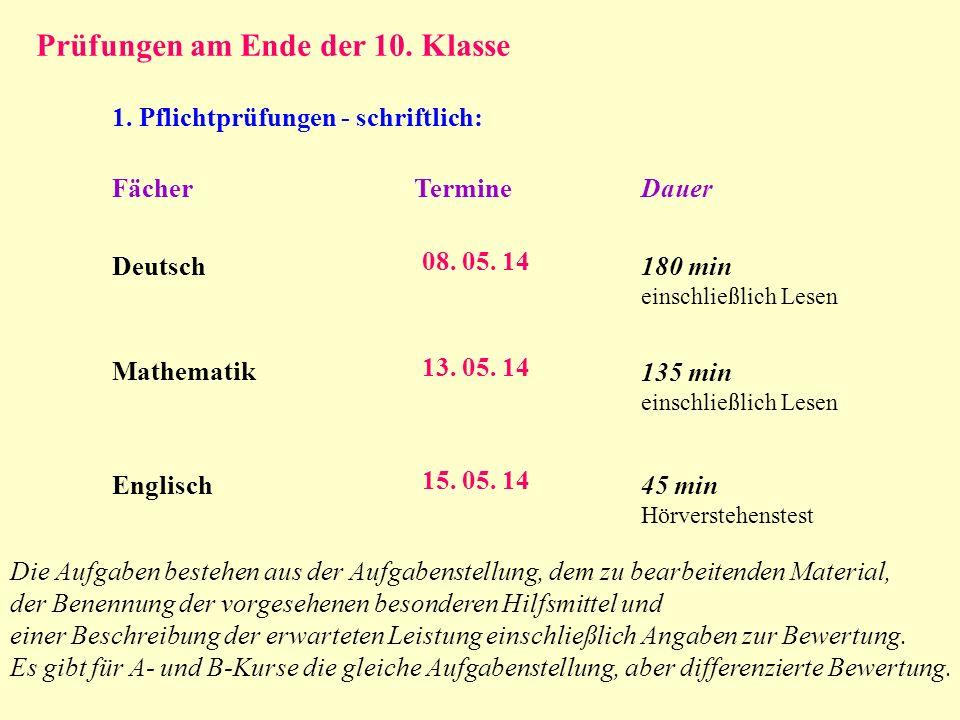 Prüfungen am Ende der 10. Klasse 1. Pflichtprüfungen - schriftlich: FächerTermineDauer Deutsch Mathematik 08. 05. 14 13. 05. 14 180 min einschließlich