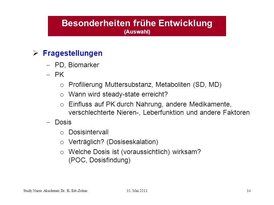 Fragestellungen PD, Biomarker PK o Profilierung Muttersubstanz, Metaboliten (SD, MD) o Wann wird steady-state erreicht.