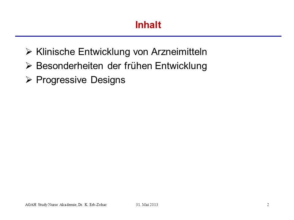 Klinische Entwicklung von Arzneimitteln Besonderheiten der frühen Entwicklung Progressive Designs Inhalt AGAH Study Nurse Akademie, Dr.