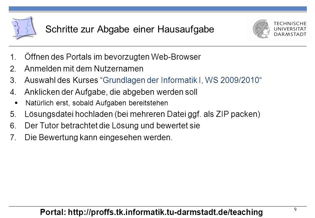 Schritte zur Abgabe einer Hausaufgabe 1. Öffnen des Portals im bevorzugten Web-Browser 2.