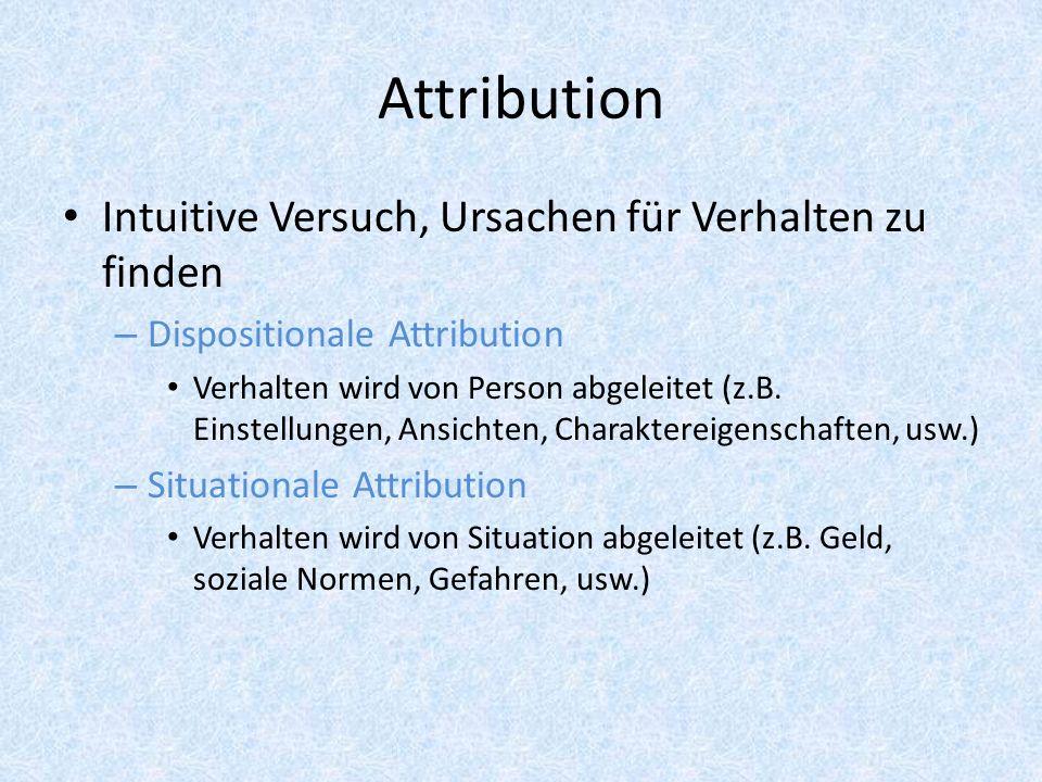 Attribution Intuitive Versuch, Ursachen für Verhalten zu finden – Dispositionale Attribution Verhalten wird von Person abgeleitet (z.B. Einstellungen,