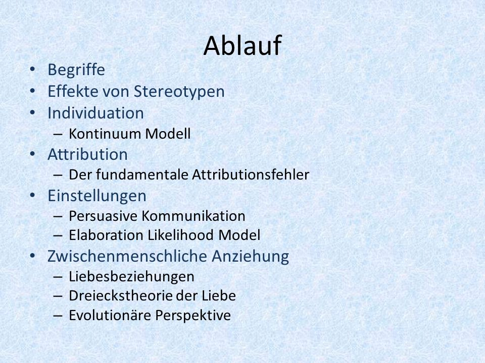 Ablauf Begriffe Effekte von Stereotypen Individuation – Kontinuum Modell Attribution – Der fundamentale Attributionsfehler Einstellungen – Persuasive