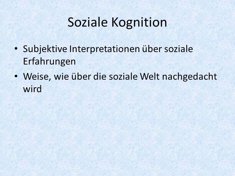 Soziale Kognition Subjektive Interpretationen über soziale Erfahrungen Weise, wie über die soziale Welt nachgedacht wird