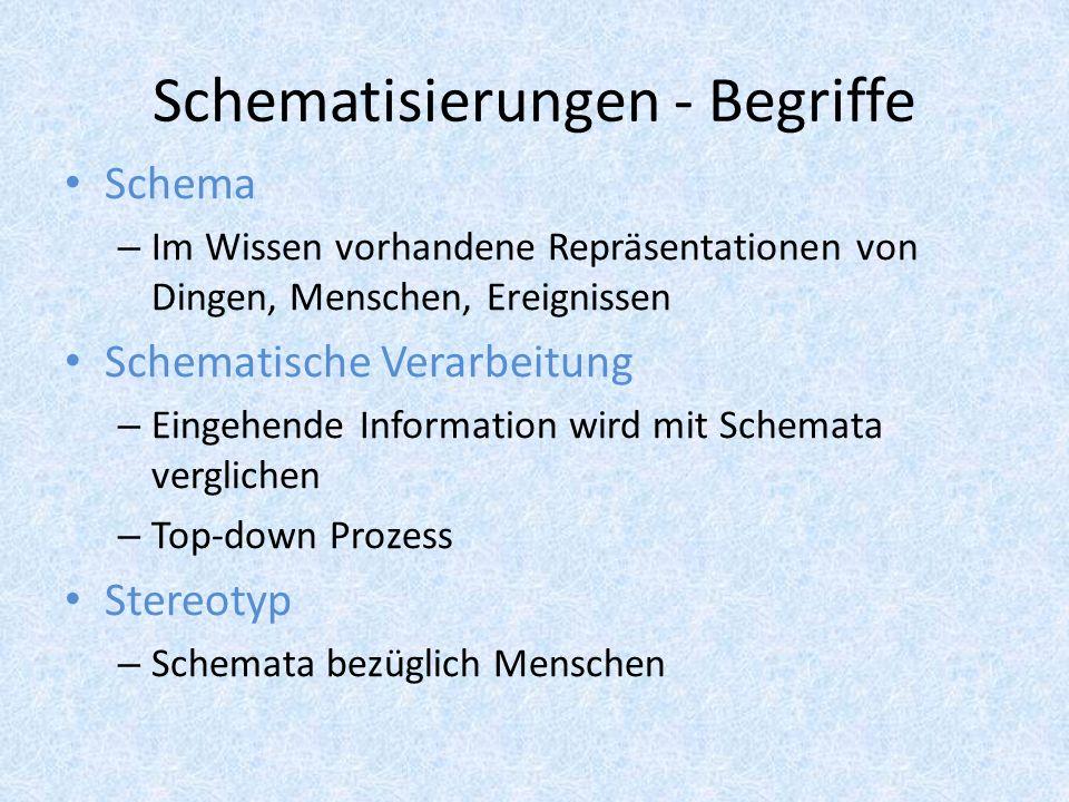 Schematisierungen - Begriffe Schema – Im Wissen vorhandene Repräsentationen von Dingen, Menschen, Ereignissen Schematische Verarbeitung – Eingehende I