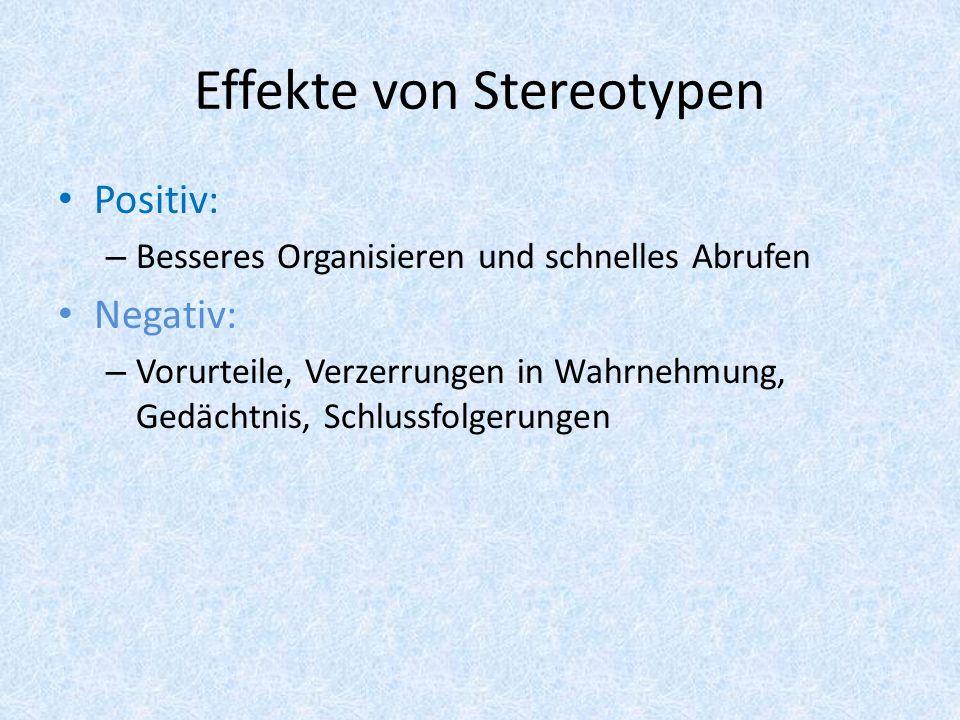 Effekte von Stereotypen Positiv: – Besseres Organisieren und schnelles Abrufen Negativ: – Vorurteile, Verzerrungen in Wahrnehmung, Gedächtnis, Schluss